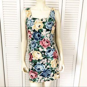 Vintage 90's Floral Rose Print Denim Dress